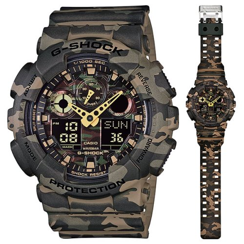 Casio G-Shock Camouflage Army Analog-Digital Olive Green Watch - GA-100CM-5A