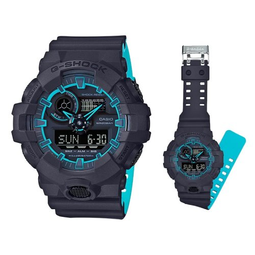 Casio G-Shock Layered Neon Sky Blue Color Watch - GA-700SE-1A2