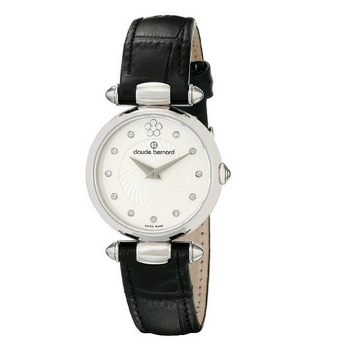 Claude Bernard Swiss Women's Black Dress Watch, Swarovski Crystals, 20501 3 VIOP2