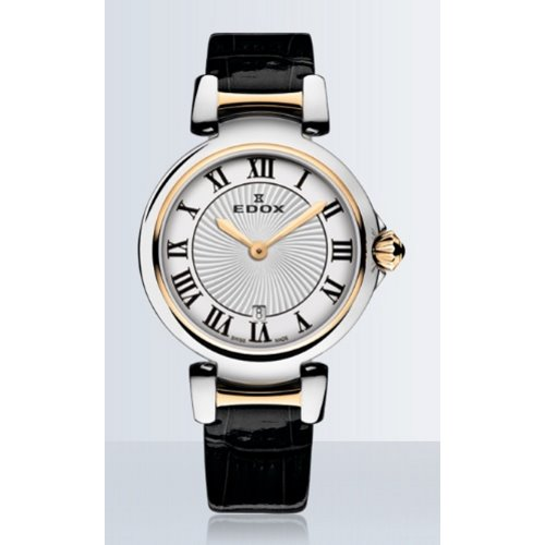 Edox LaPassion 2 Hands / SS and Pink PVD with Silver Dial and Roman Numbers/ Black Leather Strap, 57002-357RC-AR