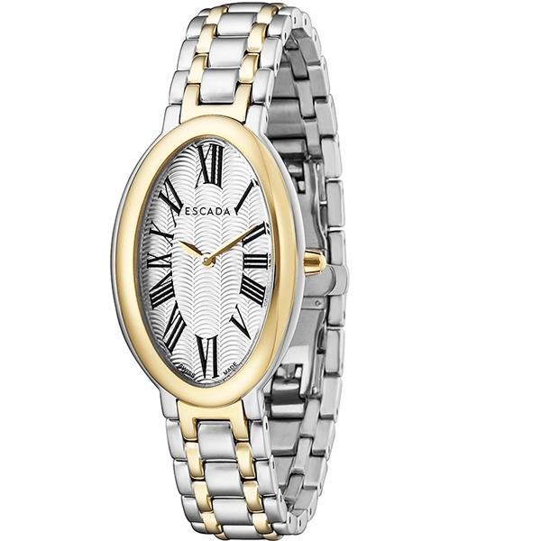 Escada Kyra Women Watch, Roman Oval Dial, Two Tones, Gold Bezel, E4935034