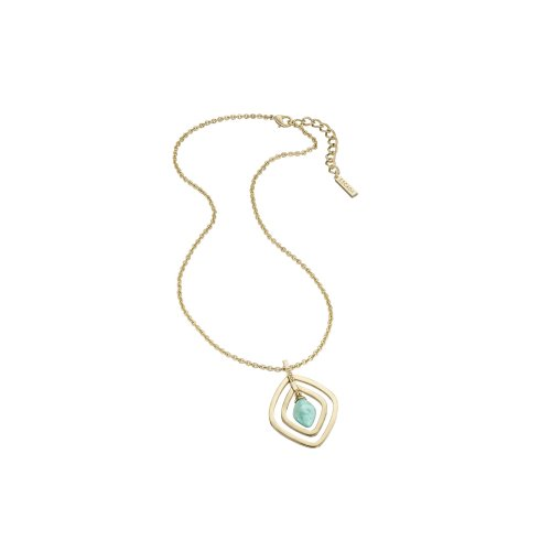Escada Turquoise Glow Gold Plated SS with Amazonite Stone Necklace, E62130