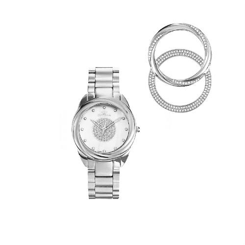 Optima Swarovski Crystals Women's Watch, Exchangable Case Ring & Straps, OSL347-SS-1