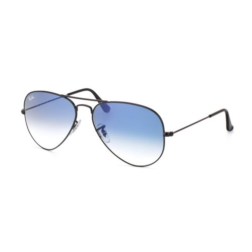 Ray Ban Aviator Black Frame, Blue Lens, RB3025 002/3F Size58