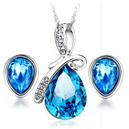 Yemma 925 Pure Sterling Silver Austrian Crystals Water Drop Jewlery Set , M01075