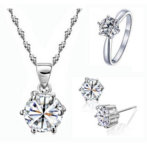 Yemma 925 Pure Sterling Silver Cubic Zirconia Bridal Jewlery Set , M01077