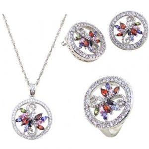Yemma 925 Sterling Silver, Cubic Zirconia Jewelry Set, 11.28 g, M01000