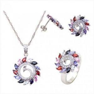 Yemma 925 Sterling Silver, Cubic Zirconia Jewelry Set, 11.28 g, M01001