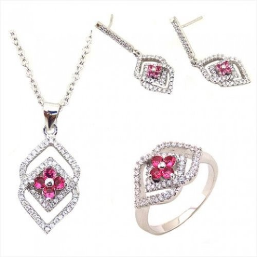 Yemma 925 Sterling Silver, Cubic Zirconia Jewelry Set, 11.28 g, M01003