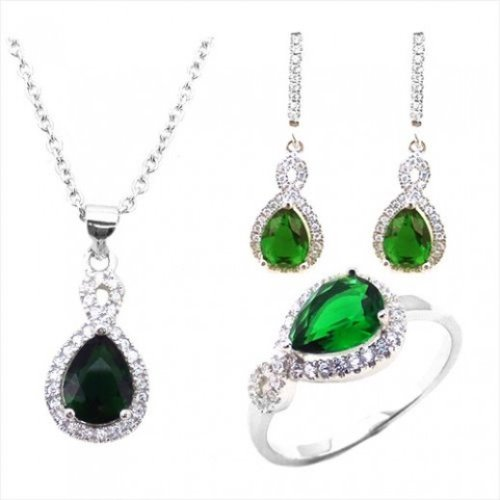 Yemma 925 Sterling Silver, Cubic Zirconia Jewelry Set, 11.28 g, M01004