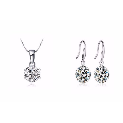 Yemma Pure 925 Sterling Silver CZ Diamond Wedding Bridal Jewelry Set, M01133