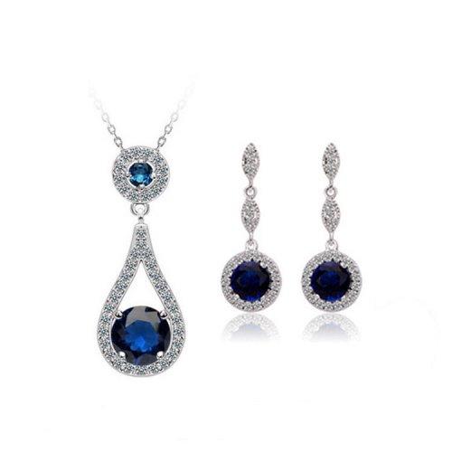 Yemma Pure 925 Sterling Silver Zircon Drop Earrings Never Fade Blue Jewelry Set , M01408