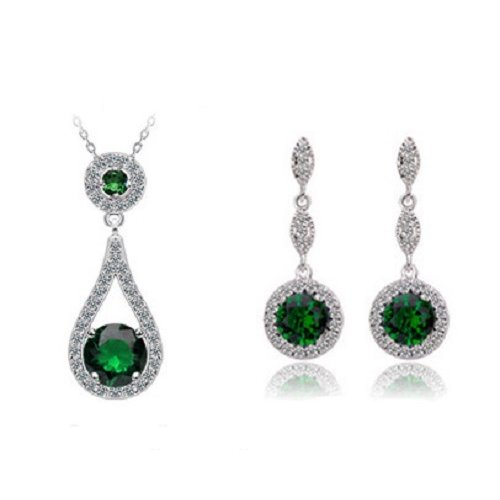 Yemma Pure 925 Sterling Silver Zircon Drop Earrings Never Fade Green Jewelry Set , M01409