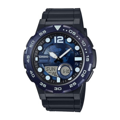 Casio Youth Analog-Digital Combination Navy Blue Watch- AEQ-100W-2AV