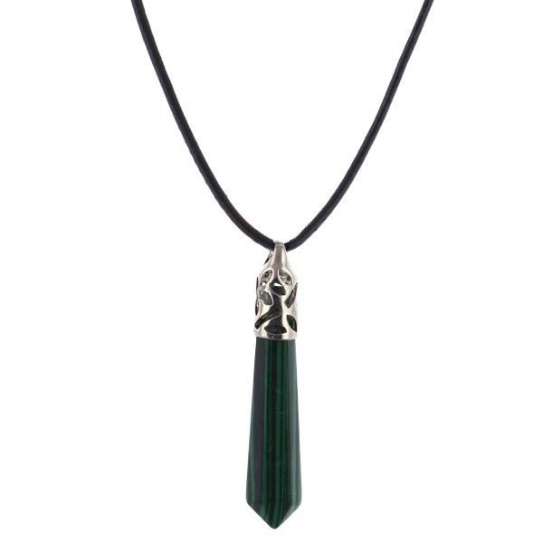 Natural Quartz Malachite Gemstone Healing Point Chakra Hexagonal Pendulum, 70mm, HA352-8