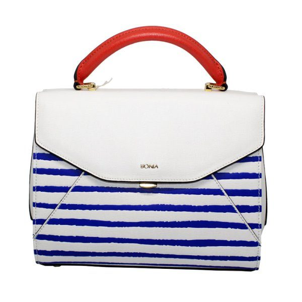 Bonia Blue & White with Red Handle Satchel Bag 4305905014012
